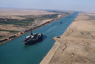 The Suez Canal: no curvature factored in when building.