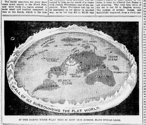 flat earth old newspaper